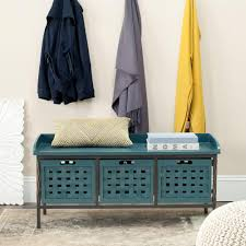 Storage Bench Safavieh Isaac Slate Teal Storage Bench Amh6530c The Home Depot