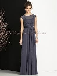 grey floor length stormy sash bow a line bridesmaid dress sbmd