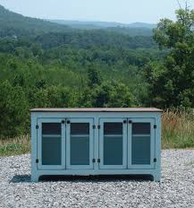 media console turquoise rustic tv stand painted media center