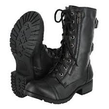 womens boots motorcycle combat motorcycle lace up boots zipper soda dome ebay