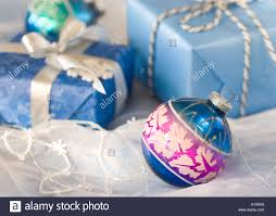 blue vintage ornament with blue packages in the