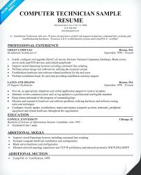 Resume For It Support Sample Resume For Computer Technician Download Computer Technician