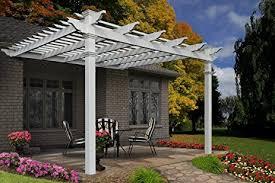 amazon com freemont 12 u0027 x 12 u0027 attached vinyl pergola garden