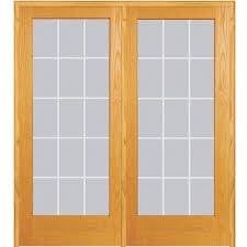 glass french doors mmi door 74 in x 81 75 in classic clear v groove 15 lite