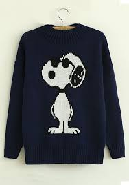navy blue snoopy print neck knit sweater sweaters tops
