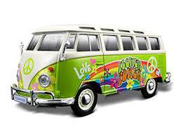 volkswagen van hippie vw samba van hippie version in green 1 25 scale by maisto 32301g