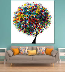 buy cotton canvas 48 x 0 4 x 48 inch colourful tree painting