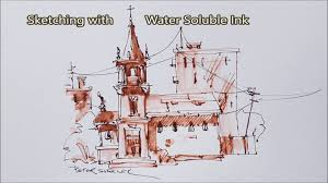 sketching with a fountarn pen using water soluble ink and a water