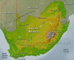 South Africa Political Map by South Africa Physical Map