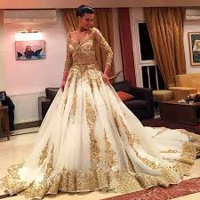 gorgeous gold sequined lace muslim wedding dress 2017 v neck