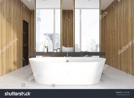 wooden bathroom interior concrete floor double stock illustration