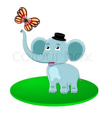 elephant with butterfly stock vector colourbox