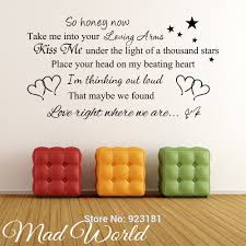 online get cheap lyrics sticker wall aliexpress com alibaba group mad world ed sheeran so honey now song lyrics wall art stickers decal home diy decoration removable bedroom decor wall stickers