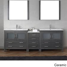 Virtu Bathroom Accessories by Virtu Usa Dior 90 Inch Double Sink Vanity Set In Zebra Grey By