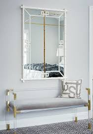 brass frame gray cushion bench