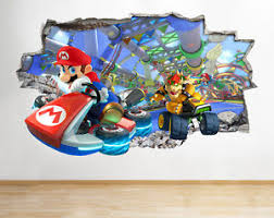 chambre mario bros h077 mario kart bros smashed wall decal poster 3d stickers