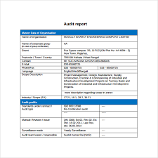 simple audit report template with blue table format for master