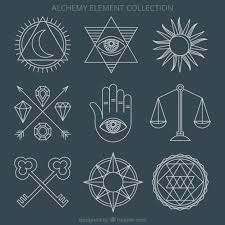 alchemy ornaments and symbols vector premium