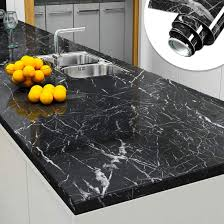 what glue to use on kitchen cabinets yenhome jazz black faux marble countertops peel and stick 24