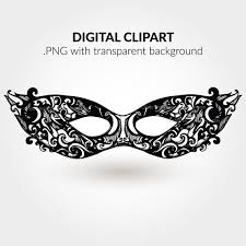 carnival mask digital clip art black silhouette illustration