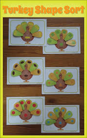 turkey shape sorting activity thanksgiving shape activities