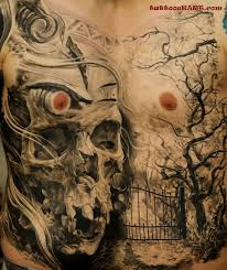 grey ink skull and graveyard on