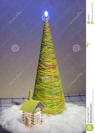 artificial christmas tree made of threads stock photo image