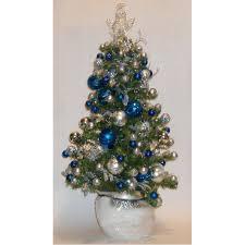 Royal Blue Christmas Tree Decorations by Royal Blue Silver Predecorated Prelit Mini Christmas Tree