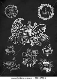 vector chalkboard collection nine thanksgiving decoration stock