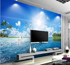 Ocean Wall Murals by Custom Any Size Beautiful Seascape Marine 3 D Tv Setting Wall