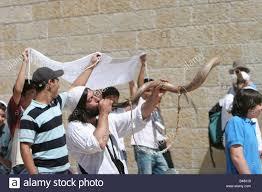 shofar from israel israel jerusalem wailing wall blowing a shofar stock photo