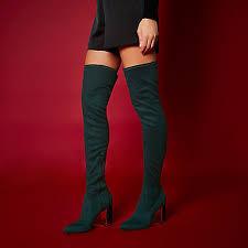 womens boots river island river island ri studio green the knee