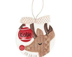 personalized reindeer felt ornament handmade