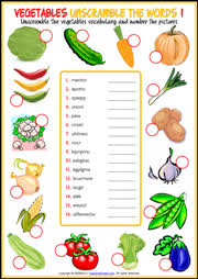 vegetables esl printable worksheets and exercises