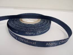 navy blue satin ribbon navy blue glitter 2 or 20 metres 10mm merry christmas satin