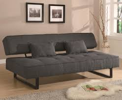 dark gray fabric convertible sleeper couch with adjustable low