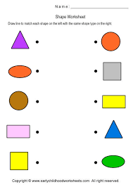 matching shapes worksheets for preschool and kindergarten