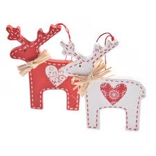 gisela graham set of 2 nordic wooden deer decorations