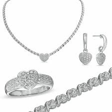 ring bracelet necklace images Diamond accent heart necklace bracelet ring and earrings set in jpg