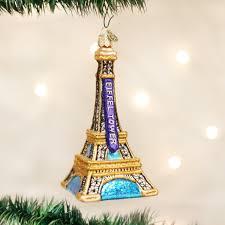 world eiffel tower glass blown ornament