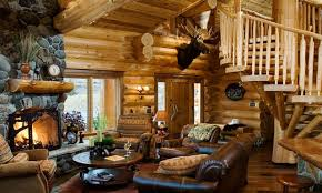 outdoor fall decor ideas log cabin style homes interior big log