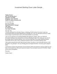 cover letter sample banking letter example investment banking