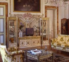 Versace Living Room Furniture Versace Cleopatra Italian Top Grain Leather Beige Living