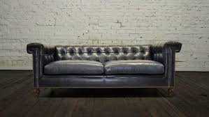 Navy Leather Sofa by Cococohome Lennox Leather Sofa Made In Usa