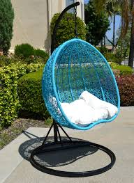 black turquoise egg shape wicker rattan swing chair hanging