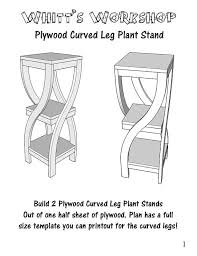 Woodworking Project Plans Pdf by Plywood Curved Leg Plant Stand Wood Plan Pdf File Blueprint