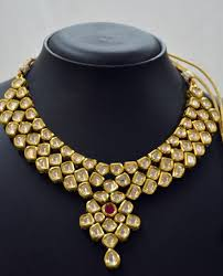 necklace stone setting images Antique kundan jewellery set with ruby stone jewellup jpg