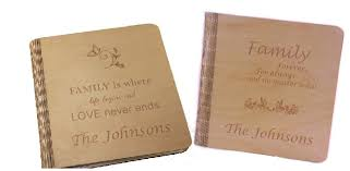 photo album personalized living hinge engraved wooden photo albums