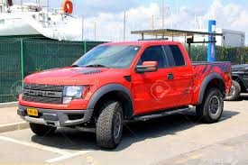 Pink Ford Raptor Truck - saint tropez france august 3 2014 red american pickup car