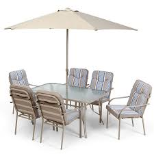6 Seater Patio Furniture Set - provence 6 seater garden dining set with 6 padded chairs and glass